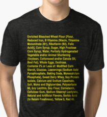Twinkie ingredients (yellow text on dark color shirts) Tri-blend T-Shirt