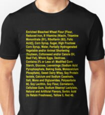 Twinkie ingredients (yellow text on dark color shirts) Unisex T-Shirt