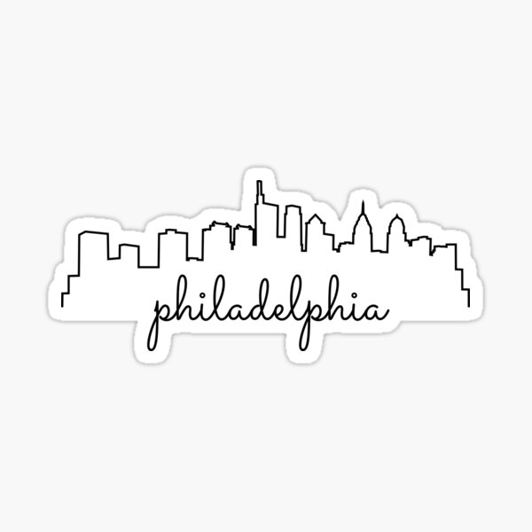 Cursive Philadelphia Skyline Simplistic Sticker Design Black Sticker