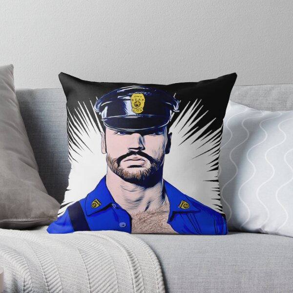 Bear Cop Throw Pillow