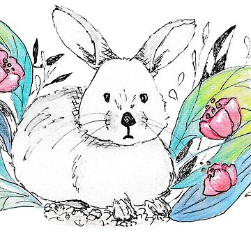 Rabbit watercolor and ink painting by craftmania