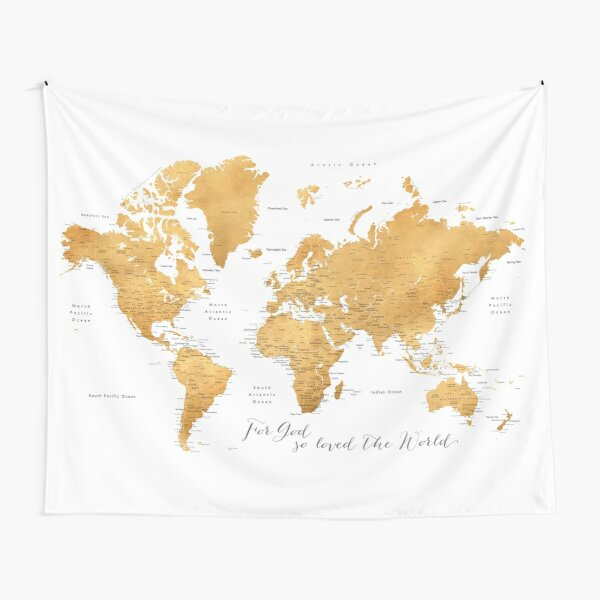 For God so loved the world, world map in gold Tapestry