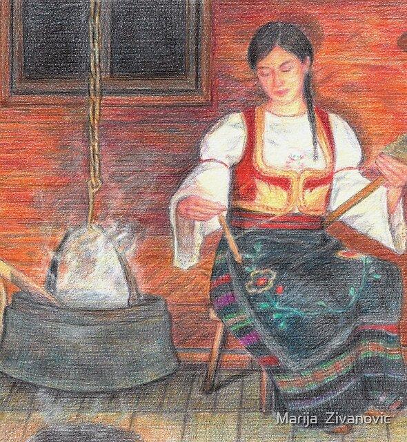 Spinning yarn from wool by Marija  Zivanovic