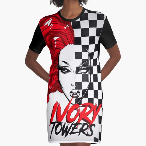 Ivory Towers - Checkerboard Queen Graphic T-Shirt Dress