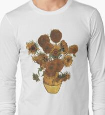 Van Gogh Sun Flowers Grunge Long Sleeve T-Shirt