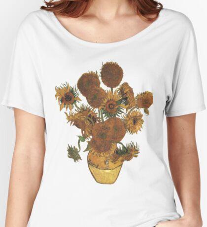 Van Gogh Sun Flowers Grunge Women's Relaxed Fit T-Shirt
