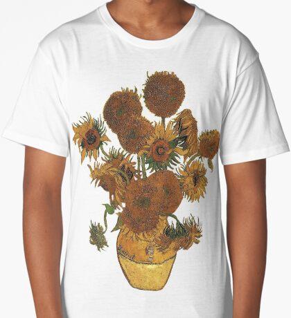 Van Gogh Sun Flowers Grunge Long T-Shirt