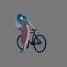Bicycle Blue Hair Girl by Nagore Rementeria