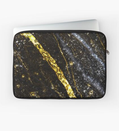 Gold sparkly line on black rock Laptop Sleeve
