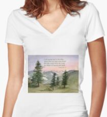 Heavenly Help -  Psalm 121:1-2 Women's Fitted V-Neck T-Shirt