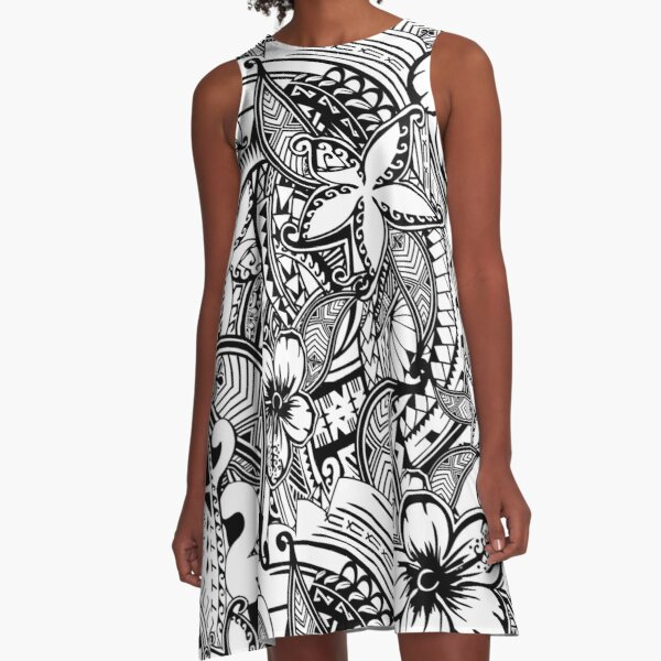 It's Not Always Black Or White Polynesian Tattoos A-Line Dress