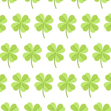 Four Leaf Clover Good Luck Shamrock Green and White Pattern Gift Idea by throwbackgamer