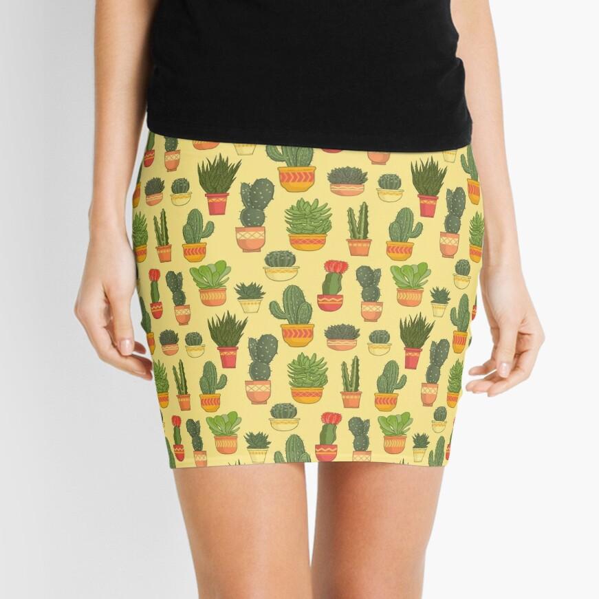 Cactus and Succulent Pattern (Tan) Mini Skirt