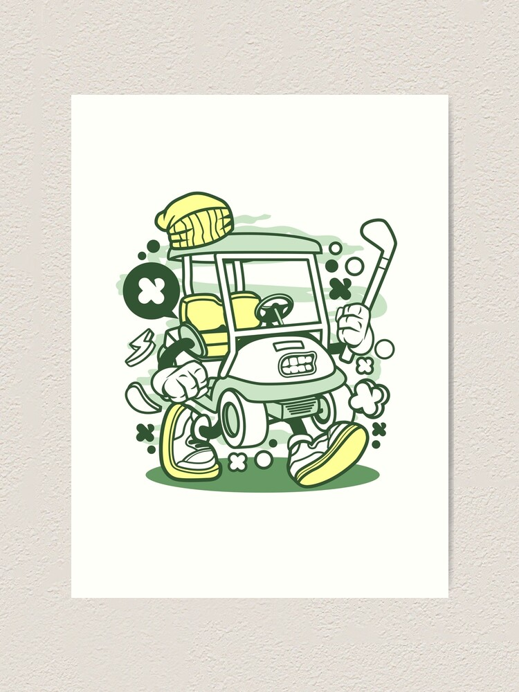 Golf Cart Cartoon Golfing Game Golfer Art Print By Scooterbaby Redbubble