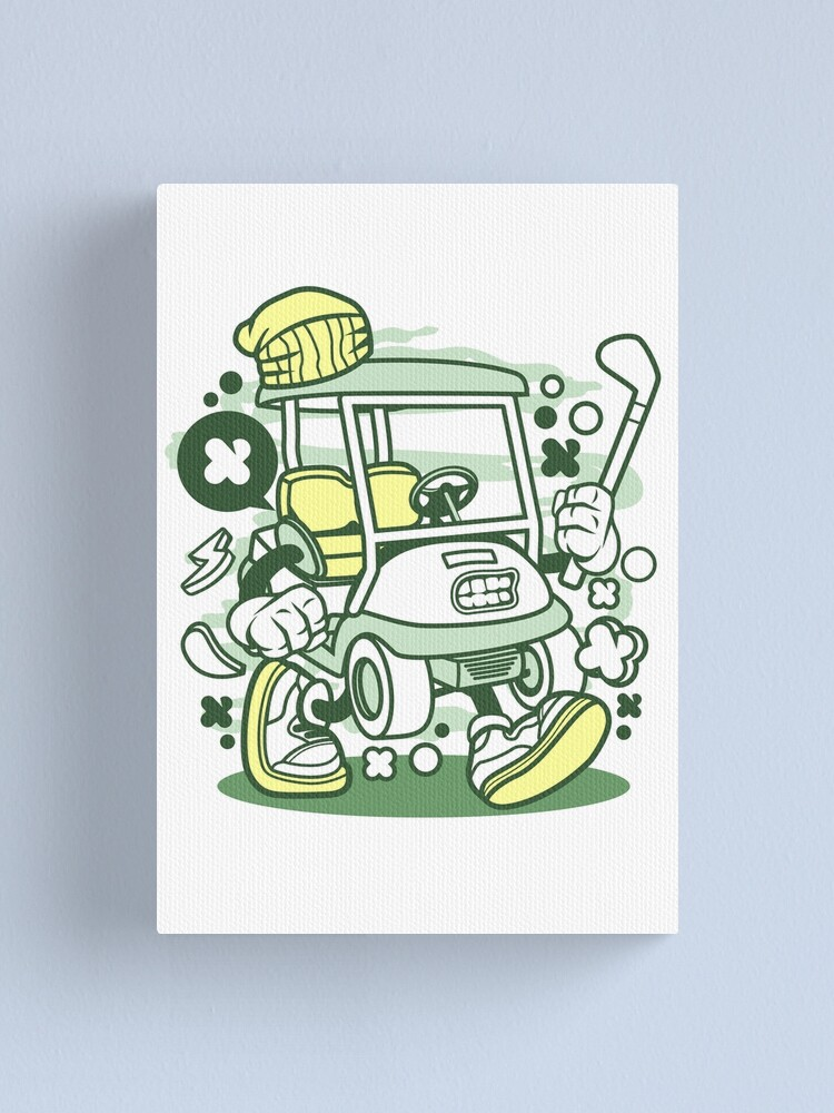 Golf Cart Cartoon Golfing Game Golfer Canvas Print By Scooterbaby Redbubble