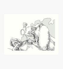 Mandrill biker is angry Art Print
