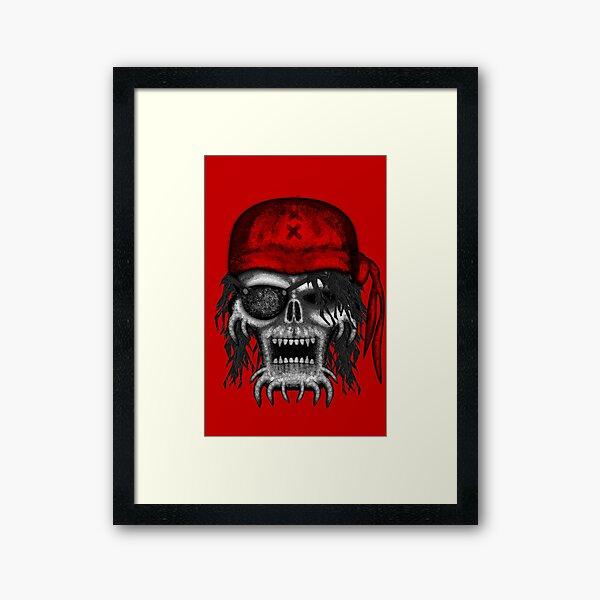 Errorface Pirate Skull Framed Art Print