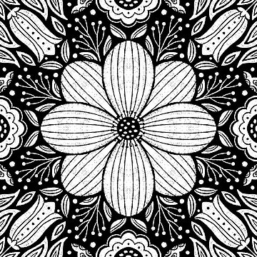 Black and White Textured Flower Mandala by noondaydesign