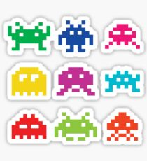 Space Invaders Alien Character Design Sticker