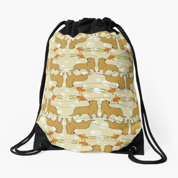 Friendly Little Otter with Goldfish Friend Drawstring Bag