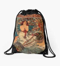 'Monaco' by Alphonse Mucha (Reproduction) Drawstring Bag