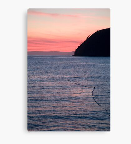 levanto beach at sunset, italy Canvas Print