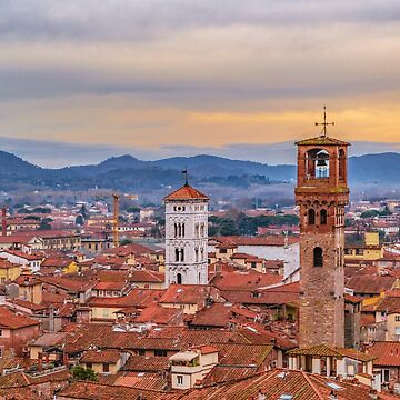 Aerial View Historic Center of Lucca, Italy by DFLCreative