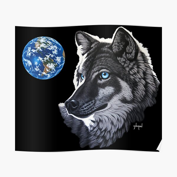 Blue-Eyed Wolf and Earth  Poster