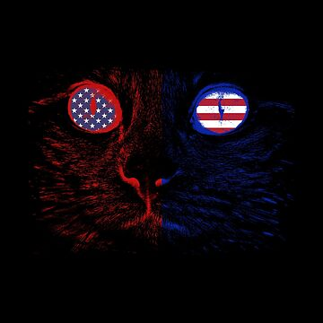 American Flag Cat - Red White And Blue Feline - United States Theme by stuch75