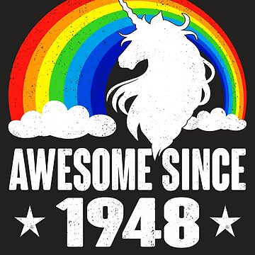 Rainbow Unicorn T-Shirt Awesome Since 1948 70th Birthday Gift by kelvil