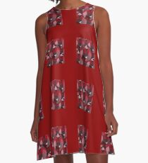 RED FACETED GARNET JANUARY  BIRTHSTONES   A-Line Dress