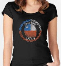 Chile Its In My DNA - Chile Chilean Flag In Thumbprint Women's Fitted Scoop T-Shirt