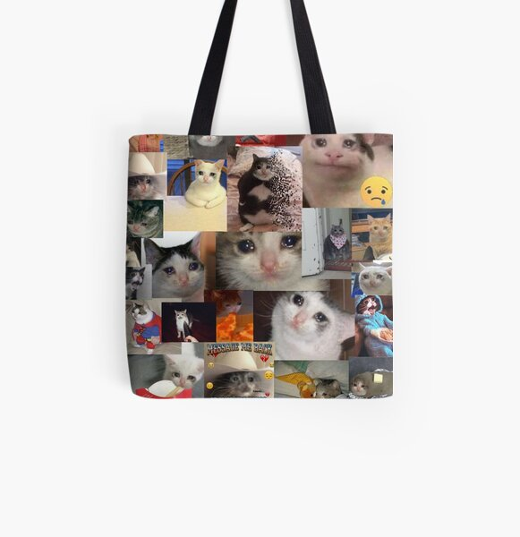 Crying Cat All Over Print Tote Bag
