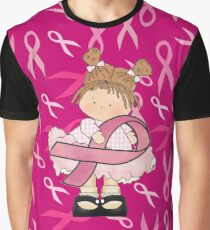 Pink Ribbon Breast Cancer Girl Graphic T-Shirt