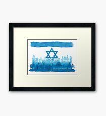 Israeli Flag & City skyline - watercolor Framed Print