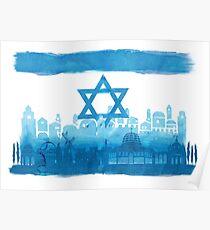 Israeli Flag & City skyline - watercolor Poster