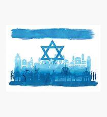 Israeli Flag & City skyline - watercolor Photographic Print