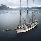 Sailing Ship in front of a Mountain Valley in Norway   by Michael Schauer