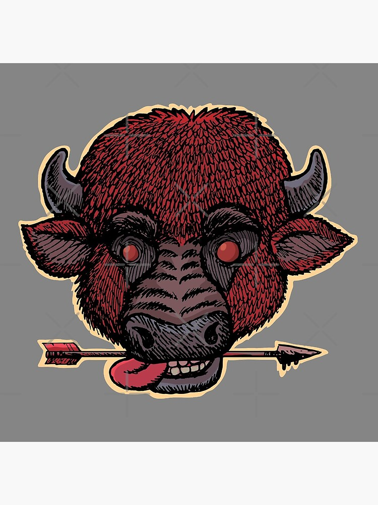 mad buffalo with a arrow in the teeth by duxpavlic