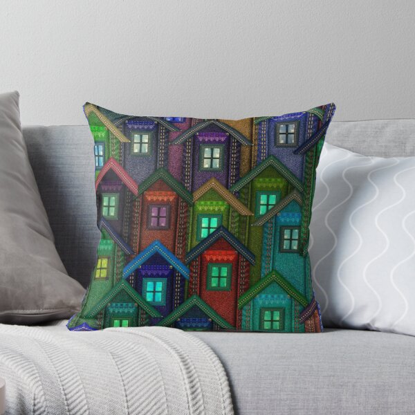 Blue Jeans Housing Compound (2) Throw Pillow