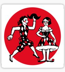 Harlequin and Colombine red circle Sticker