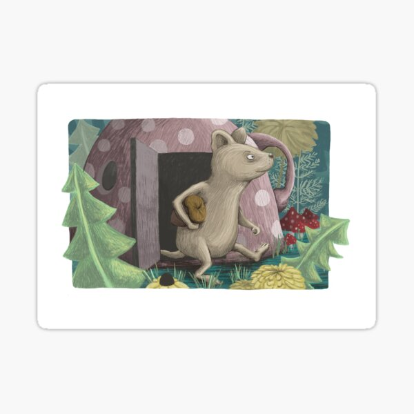Little mouse on a forest stroll Sticker