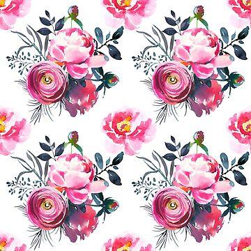 Floral Grey Roses & Peonies P1 | BLOOMS -  FLORALS - GREENERY by mcaussieb