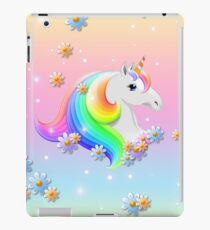 Pink and Blue Rainbow Unicorn with Stars and Daisies iPad Case/Skin