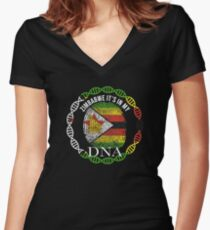 Zimbabwe Its In My DNA - Zimbabwe Zimbabwean Flag In Thumbprint Shirt mit V-Ausschnitt