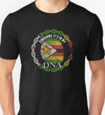 Zimbabwe Its In My DNA - Zimbabwe Zimbabwean Flag In Thumbprint Unisex T-Shirt