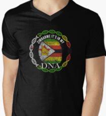 Zimbabwe Its In My DNA - Zimbabwe Zimbabwean Flag In Thumbprint T-Shirt mit V-Ausschnitt für Männer