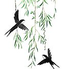 spring willow leaf and swallows  by ColorandColor
