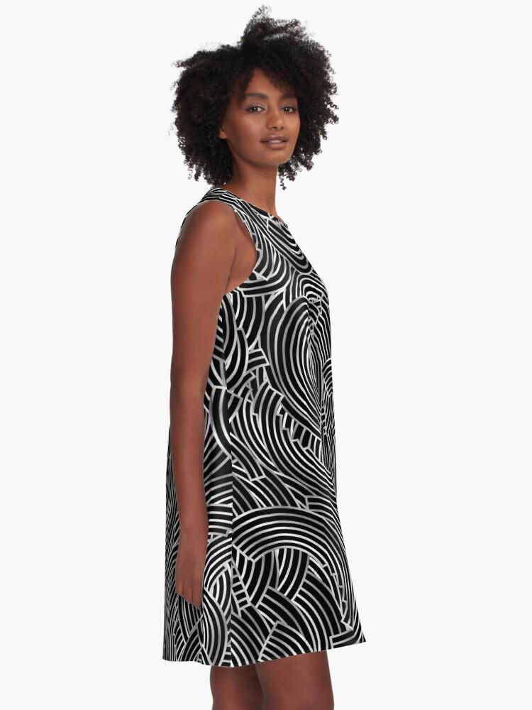 Alternate view of 1920s Jazz Deco Swing Monogram black & silver letter B A-Line Dress