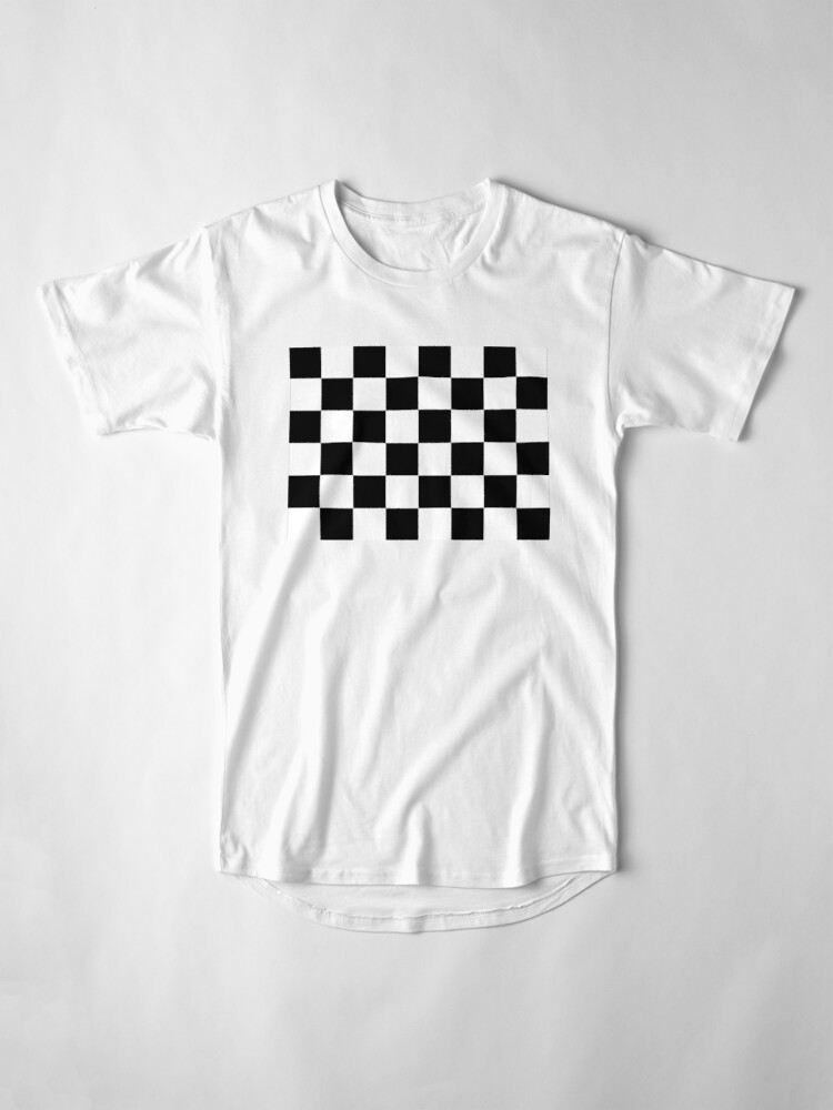 Alternate view of Checkered Flag, Chequered Flag, Motor Sport, Checkerboard, Pattern, WIN, WINNER,  Racing Cars, Race, Finish line, BLACK. Long T-Shirt